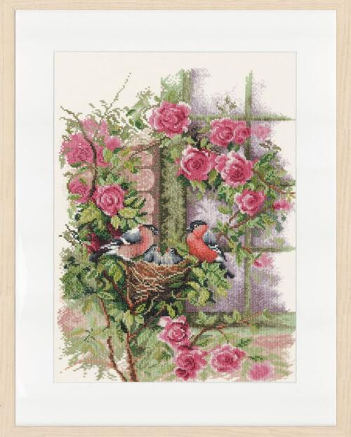 Nesting Birds in Rambler Rose LanArte (the Art of Stitching) by ©Mylene de Kleijn