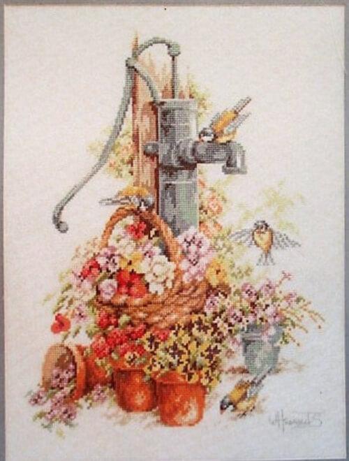 Old Pump, Flowers, Birds Lanarte Cross Stitch Kit from CuriousCatVintage