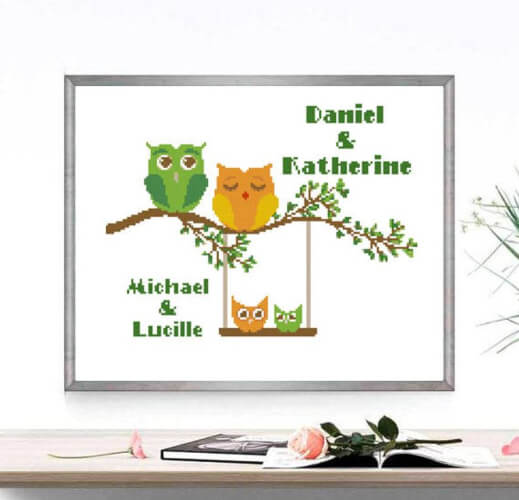 Owl Family Cross Stitch Pattern by DeLoraiPatterns