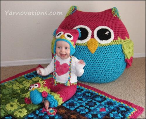 Owl Set Bean Bag Chair Pattern by YarnovationsShop