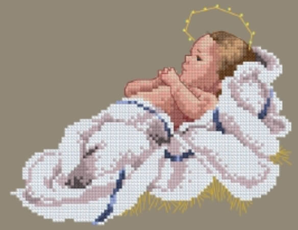 Peace Be With You Lavender and Lace Cross Stitch Pattern