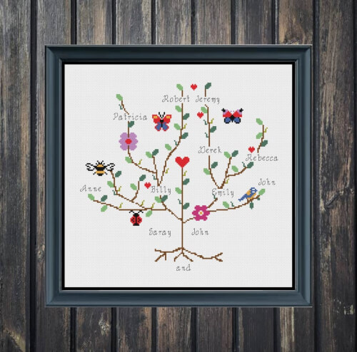 Personalized Customized Family Tree Cross Stitch Pattern by Magdaworld