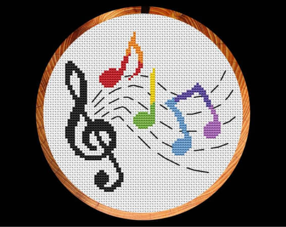 Rainbow Musical Notes Cross Stitch Pattern for Kids by ClimbingGoatDesigns