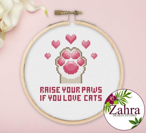 Raise Your Paws! Cat Paw Cross Stitch Pattern by ZahraDesignStudio