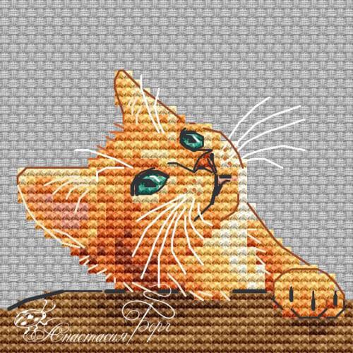 Red Kitten Cross Stitch Pattern by BergStitch