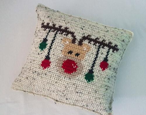 Reindeer Christmas Crochet Pillowcase Pattern by YarnOverLifestyle