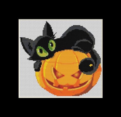 Scaredy Cat Halloween Cross Stitch Pattern by PhoenixStitching