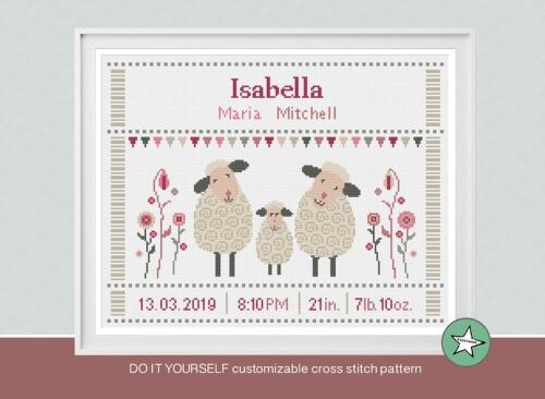 Sheep Baby Birth Sampler Cross Stitch Pattern by Happinesst