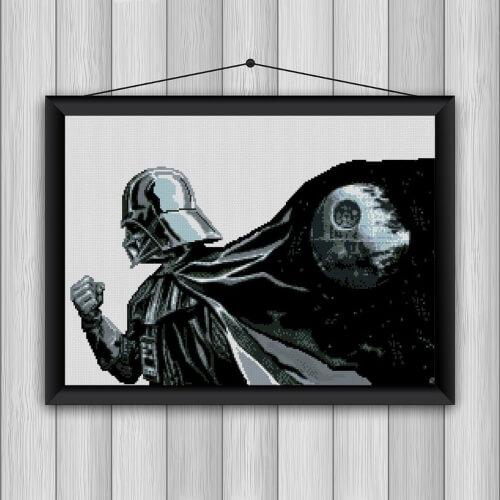 Star Wars Darth Vader Death Star Cross Stitch Pattern by Embroidery4KidsArt