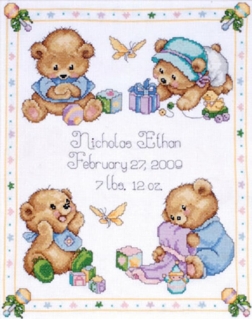 TOBIN BABY Baby Bear Sampler Counted Cross Stitch Kit from DebsCrossStitch