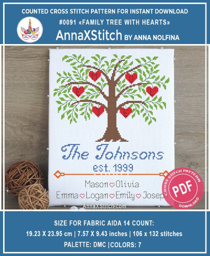 Tree with Hearts Family Cross Stitch by AnnaXStitch