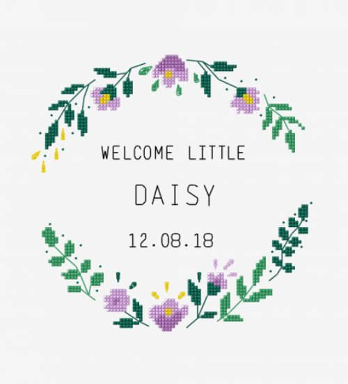 Welcome Little One Free Cross Stitch Birth Sampler Pattern from DMC