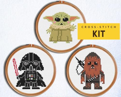 Yoda Darth Vader Chewbacca Cross Stitch Kit by stitchier