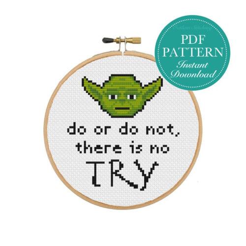 Yoda Star Wars Inspired Cross Stitch Pattern by OutlawStitching