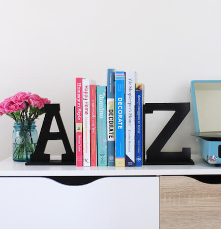 DIY A To Z Bookends by At Home In Love