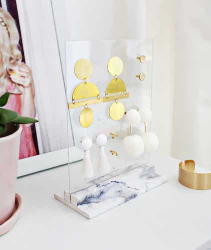 DIY Acrylic Earring Holder by A Beautiful Mess