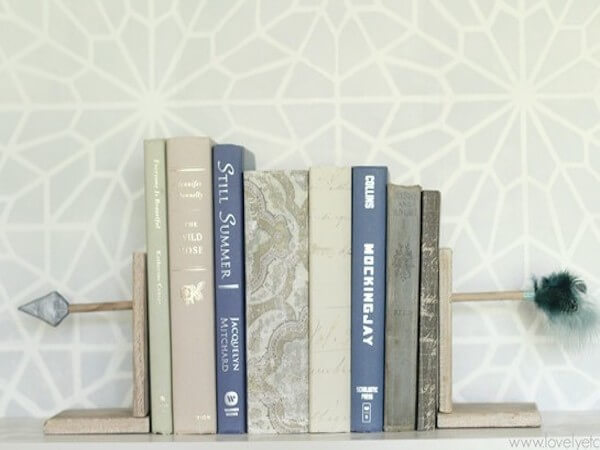 DIY Arrow Bookends by Lovely Etc