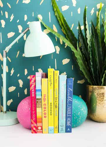 DIY Concrete Sphere Bookends by A Beautiful Mess