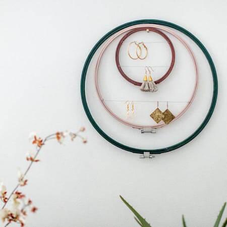 DIY Embroidery Hoop Earring Holder by Fun 365
