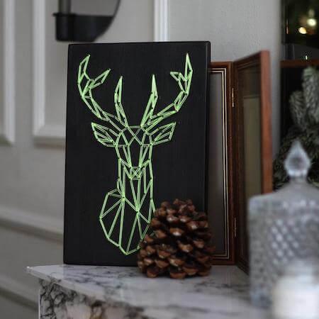 DIY Geometric Deer String Art by Raya Art Deco