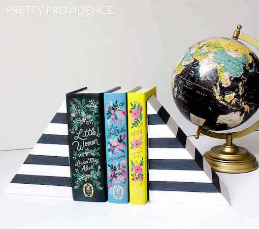 DIY Striped Bookends by Pretty Providence