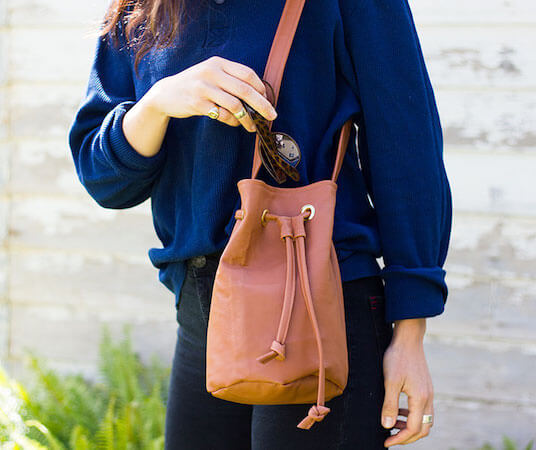 Faux Leather Bucket Bag Pattern by Pretty Prudent