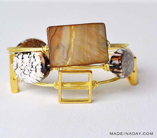 Stone Wire Wrapped Bangle Bracelets by Made In A Day
