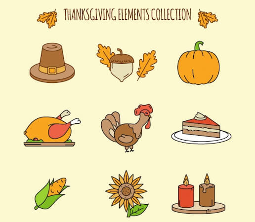Thanksgiving Clip Art Elements by Free Pik