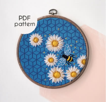 Bee Beginner Embroidery Pattern by WhyKnotStitches