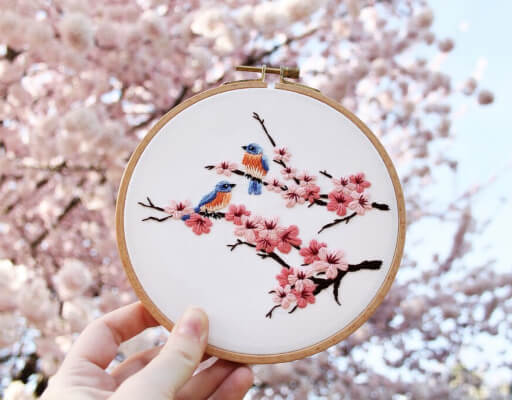 Cherry Blossom Bluebirds Hand Embroidery Pattern by EtceteraEmbroidery