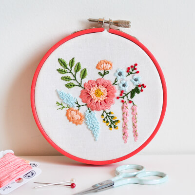 Embroidered Bouquet Tutorial from Down Grapevine Lane