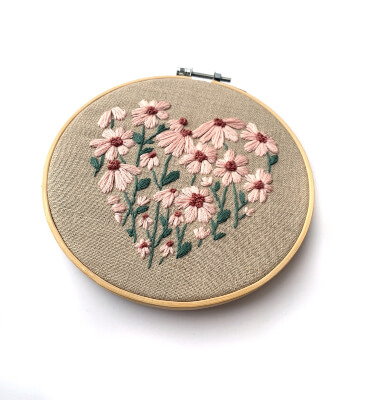 Floral Heart Beginner Embroidery Pattern by ThreadUnraveled