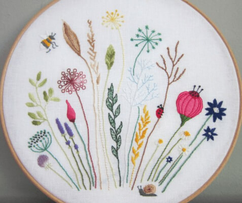 Floral Meadow Embroidery Pattern from Hodge Podge Craft