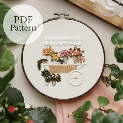 Flower Cart - Step By Step Beginner Embroidery Pattern by MagnusAndQuill