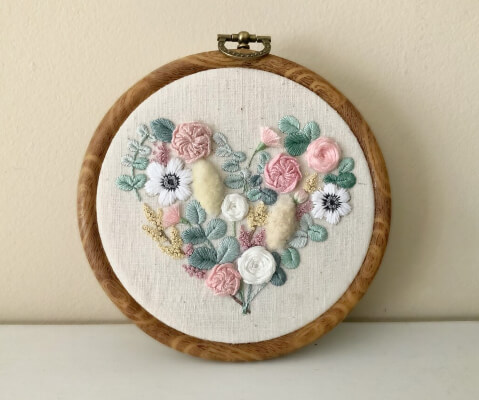Heart Flower Embroidery Pattern by Coztitch