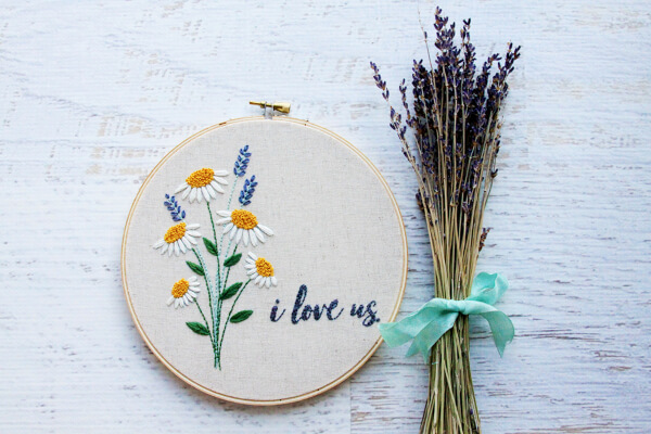 I Love Us Free Floral Embroidery Pattern from Flamingo Toes