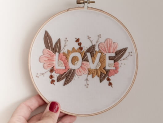 LOVE Flower Embroidery Patternby BrynnandCo