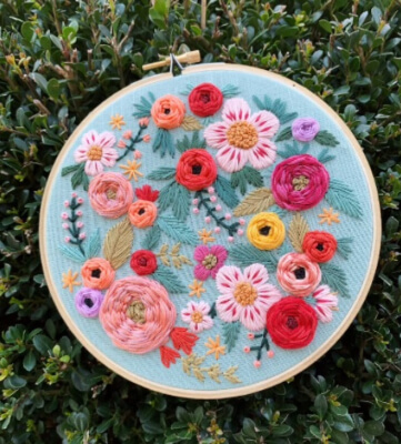 Summer Flower Embroidery Pattern by BeksStitches