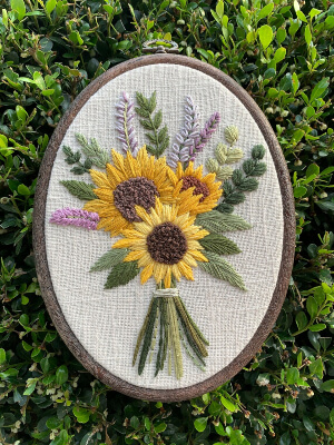 Sunflower Bouquet Floral Embroidery Pattern by BeksStitches