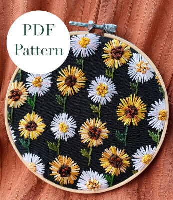 Sunflower & Daisy Hoop Beginner Embroidery Pattern by BeksStitches