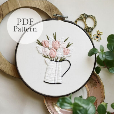 Tulip Bouquet Beginner Embroidery Pattern by MagnusAndQuill