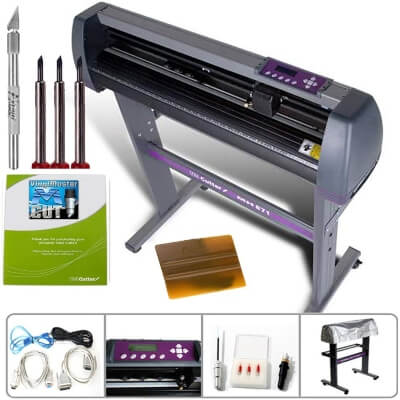 US Cutter 28 Inch MH Vinyl Cutter Plotter can cut and has a built-in pen adaptor for plotting