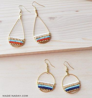 Beachy Boho Beaded Hoop Earrings by Made In A Day