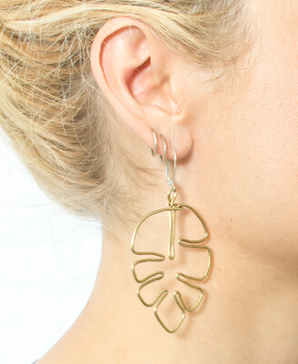 Brass Monstera Leaf DIY Earrings by DIY In PDX