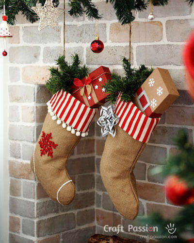 Burlap Christmas Stocking Sewing Pattern by Craft Passion