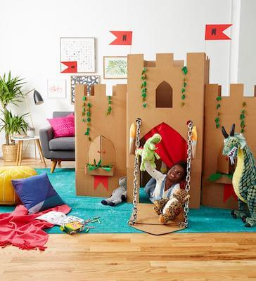 Cardboard Box Castle Craft For Kids by Parents