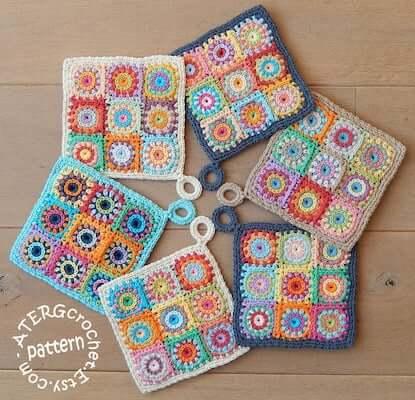 Crochet Colorful Potholder Squares Pattern by ATERG Crochet