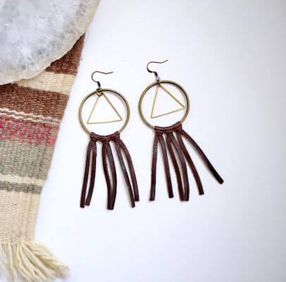 DIY Boho Leather Earrings by DIYS
