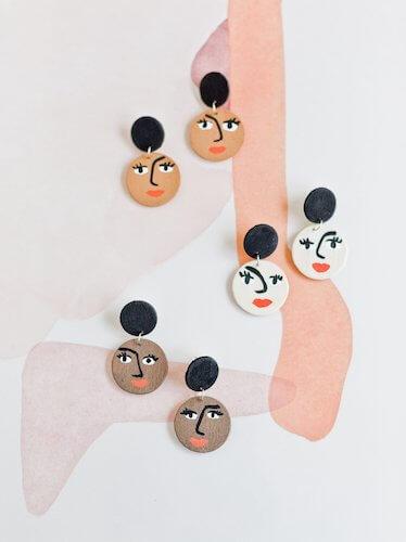 Cute Face DIY Earrings by Paper & Stitch