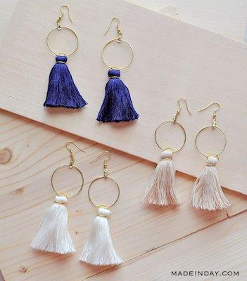 DIY Hoop Tassel Earrings by Made In A Day